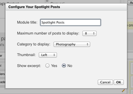 Spotlight Posts settings